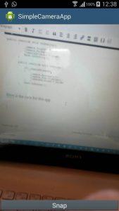 Screen shot of the sample app